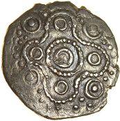 Danny's Dragon. Belgae. c.50-30 BC. Celtic silver half unit. 11mm. 0.45g.