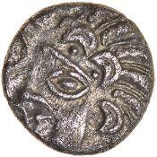 Arundel Moon Man. Regini. c.55-45 BC. Celtic silver unit. 10mm. 1.25g.