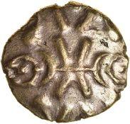 Vepo Triadic. Corieltauvi. c.AD 15-40. Celtic gold stater. 18mm. 5.11g.