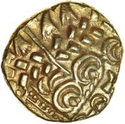 North East Coast. Sills Mint B, type 9. Corieltavi. c.60-50 BC. Celtic gold stater. 19mm. 6.05g.