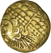 Gallo Belgic Broad Flan. Bellovaci. c.150-125 BC. Celtic gold stater. 26mm. 7.07g.