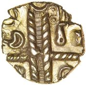 Raunds Wing. Leaves Up Ladder. Catuvellauni. c.55-45 BC. Celtic gold quarter stater. 10mm. 1.20g.