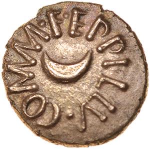 Eppillus Crescent. Regini & Atrebates. c.20BC-AD1. Celtic gold quarter stater. 10mm. 1.16g.