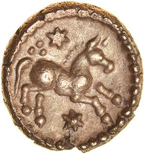 Eppillus Crescent. Regini & Atrebates. c.20BC-AD1. Celtic gold quarter stater. 10mm. 1.16g. - Image 2 of 2