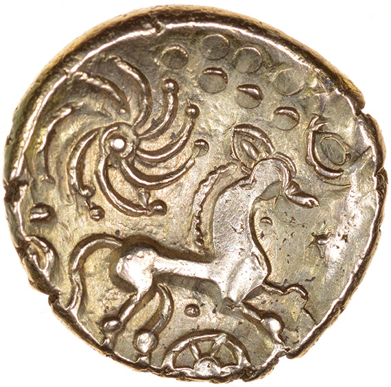 Wonersh. Cloak and Ringed-Pellet Type. Regini. c.50-40 BC. Celtic gold stater. 18mm. 5.43g. - Image 2 of 2
