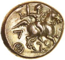 Tasciovanos Warrior. Reverse S-Type. Catuvellauni. c.25BC-AD10. Celtic gold stater. 16mm. 5.45g.