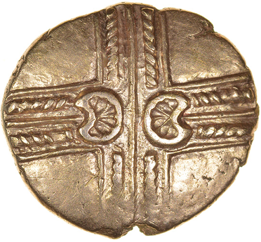 Addedomaros Crescent Cross. E-Type. Catuvellauni. c.45-25 BC. Celtic gold stater. 18mm. 5.61g.