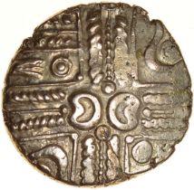 Wonersh. Cloak and Ringed-Pellet Type. Regini. c.50-40 BC. Celtic gold stater. 18mm. 5.43g.