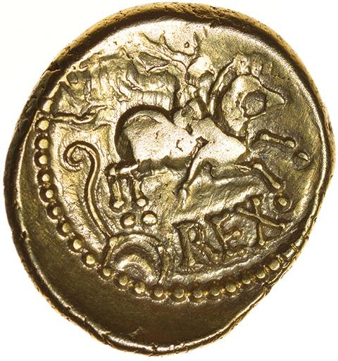 Verica Warrior Rex. Regini & Atrebates. c.AD 10-40. Celtic gold stater. 17mm. 5.30g. - Image 2 of 2