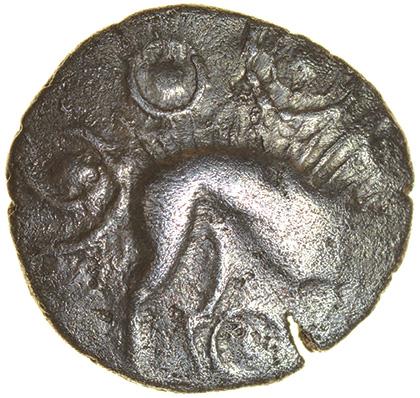 W-Forelegs Proto Boar. Rich Type 16b. Corieltavi. c.55-45 BC. Silver unit. 14mm. 1.37g.