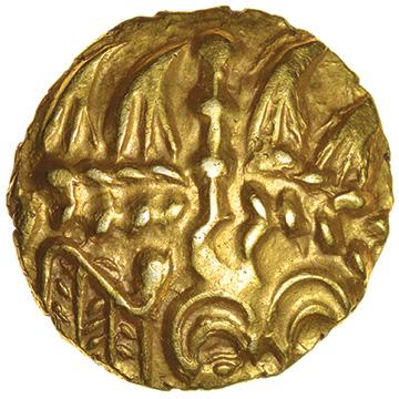 Bognor Cogwheel. Mane, Two Arcs Type. Regini. c.55-45 BC. Celtic gold quarter stater. 13mm. 1.40g.