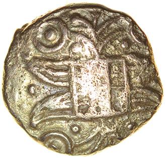 Irstead Trefoil. Iceni. c.30-10 BC. Celtic gold quarter stater. 10mm. 1.03g.
