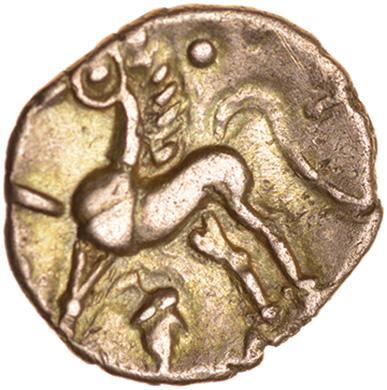 Tasciovanos Acorn. Catuvellauni. c.25BC-AD10. Celtic gold quarter stater. 12mm. 1.25g. - Image 2 of 2