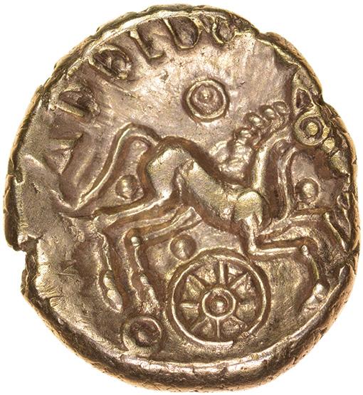 Addedomaros Crescent Cross. E-Type. Catuvellauni. c.45-25 BC. Celtic gold stater. 18mm. 5.61g. - Image 2 of 2