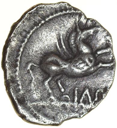 Cunobelinus Pegasus Right. Catuvellauni & Trinovantes. c.AD8-41. Celtic silver unit. 13mm. 1.28g. - Image 2 of 2