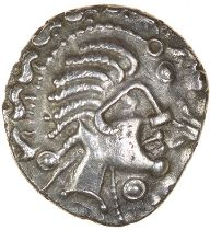 Crested Head. Berkshire. c.55-40 BC. Celtic silver unit. 12mm. 1.09g.