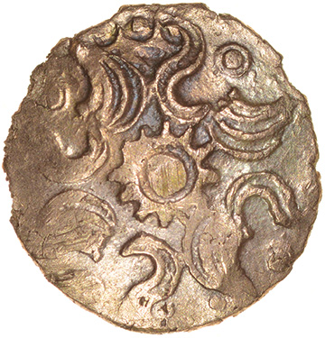 Danebury Scrolls Left. Belgae. c.60-50 BC. Celtic gold quarter stater. 12mm. 1.08g.