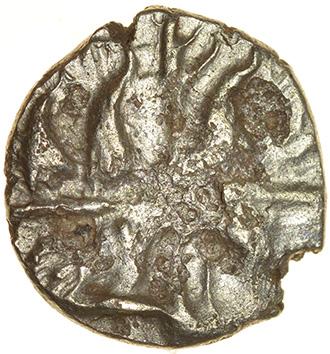 Dahlia Horse Left. East Wiltshire. c.55-45 BC. Celtic gold quarter stater. 11mm. 0.73g. - Image 2 of 2