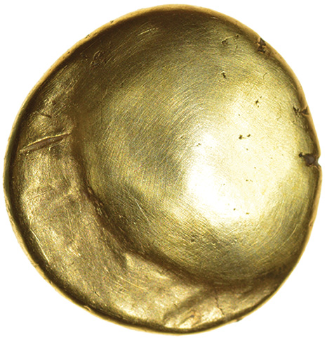 Gallic War Uniface. Pellet Nose Type. Ambiani. c.56-55 BC. Celtic gold stater. 15mm. 6.23g. - Image 2 of 2