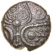 Leaves. Belgae. c.55-45 BC.Celtic silver half unit. 8mm. 0.46g.