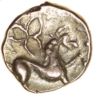 Irstead Trefoil. Iceni. c.30-10 BC. Celtic gold quarter stater. 10mm. 1.03g. - Image 2 of 2
