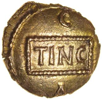 Tincomarus Medusa. Regini & Atrebates. c.25BC-AD10. Celtic gold quarter stater. 10mm. 1.10g. - Image 2 of 2