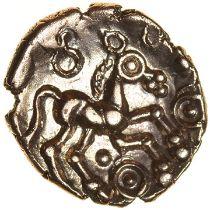 Addedomaros Flower. Catuvellauni. c.45-25 BC. Celtic gold quarter stater. 12mm. 1.35g.