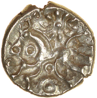 Dahlia Horse Left. East Wiltshire. c.55-45 BC. Celtic gold quarter stater. 11mm. 0.73g.