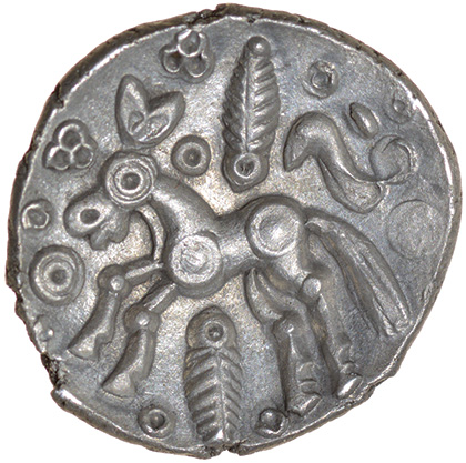 Duck Helmet. Eastern. c.50-40 BC. Celtic silver unit. 14mm. 1.23g. - Image 2 of 2