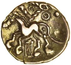 Corded Triangle. X-Box Type. Cantiaci. c.50-40 BC. Celtic gold quarter stater. 12mm. 1.26g.