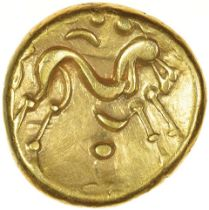 Gallic War Uniface. Pellet Nose Type. Ambiani. c.56-55 BC. Celtic gold stater. 15mm. 6.23g.