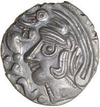 Duck Helmet. Eastern. c.50-40 BC. Celtic silver unit. 14mm. 1.23g.