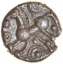 Leaves. Belgae. c.55-45 BC.Celtic silver half unit. 8mm. 0.46g. - Image 2 of 2