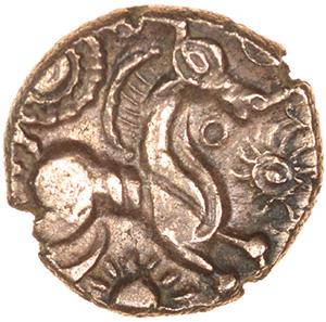 Appleshaw Sunburst. Belgae. c.55-45 BC. Celtic gold quarter stater. 10mm. 1.01g. - Image 2 of 2