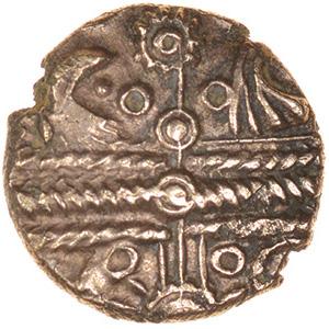Appleshaw Sunburst. Belgae. c.55-45 BC. Celtic gold quarter stater. 10mm. 1.01g.