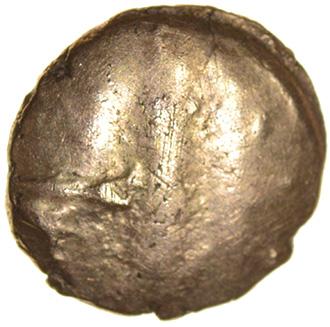 Kentish Horse Brooch. Cantiaci. c.45-40 BC. Celtic gold quarter stater. 12mm. 1.33g. - Image 2 of 2