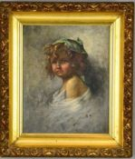 Filippo Marantonio 1863-1937 Italian girl with a hat