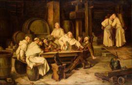 Adolf Humborg 1847-1921 Monks in the wine cellar