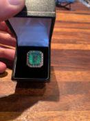 IMPRESSIVE 11.30ct EMERALD & 1.14ct E/F-SI DIAMOND PLATINUM RING WITH AGI VALUATION