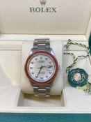 Rolex Stainless Steel Watch 16200 with Box - Set with Diamond dial & Orange Stone Set Bezel