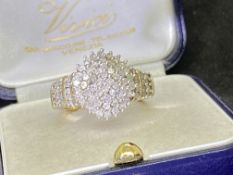 9ct YELLOW GOLD DIAMOND CLUSTER RING - APPROX SIZE N & 1/2