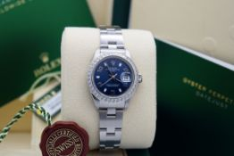 Rolex Ladies Date - 26mm - Stainless Steel with Navy Dial & Custom Bezel