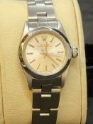 LADIES STAINLESS STEEL ROLEX OYSTER PERPETUAL WATCH