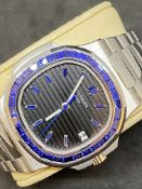GENUINE PATEK PHILIPPE MOVEMENT WITH 18k GOLD WATCH CASE & DIAL MARKED PATEK PHILIPPE -BLUE SAPPHIRE