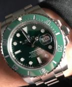 WATCH MARKED ROLEX - STAINLESS STEEL - GREEN DIAL AND BEZEL