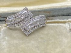 9ct GOLD 0.50ct DIAMOND CROSSOVER RING