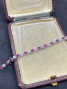 18ct WHITE GOLD 2.00ct RUBY & 2.00ct DIAMOND TENNIS BRACELET