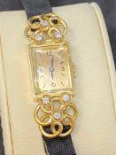 PONCIN PARIS 49.491 18ct GOLD DIAMOND SET WATCH - 24 GRAMS - 0.20ct DIAMONDS