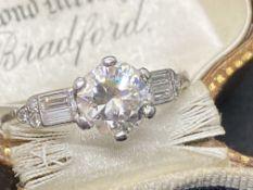 VINTAGE PLATINUM DIAMOND SOLITAIRE WITH DIAMOND BAGUETTE SHOULDERS 1.40ct TOTAL DIAMOND WEIGHT