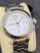 STAINLESS STEEL CARTIER PASHA AUTOMATIC WATCH